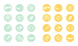 Description icons of glasses (yellow green orange) Stock Photography