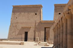 Descriptions de l'Egypte antique au temple de Philae, Assouan Photo stock