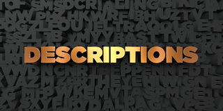 Descriptions - Gold text on black background - 3D rendered royalty free stock picture. This image can be used for an online website banner ad or a print Royalty Free Stock Image