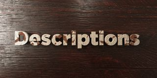 Descriptions - grungy wooden headline on Maple  - 3D rendered royalty free stock image. This image can be used for an online website banner ad or a print Stock Photo