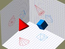 Descriptive geometry 3D projection Royalty Free Stock Photography