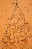 Descriptive geometry. Old sketch from descriptive geometry on yellowed paper Stock Photography