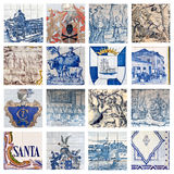 Descriptive Portuguese Tiles Collage Royalty Free Stock Photo