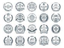 Descriva gli emblemi incolori della birra di vettore, i simboli, le icone, le etichette del pub, raccolta dei distintivi Immagine Stock Libera da Diritti
