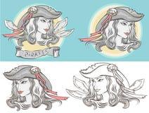 Descriva il ritratto di un ragazza-pirata nelle versioni differenti Fotografie Stock