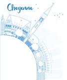 Descriva l'orizzonte di Cheyenne (Wyoming) con le costruzioni blu e copi Fotografia Stock Libera da Diritti
