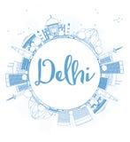 Descriva l'orizzonte di Delhi con i punti di riferimento blu e copi lo spazio illustrazione di stock