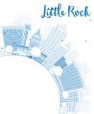 Descriva l'orizzonte di Little Rock con costruzione blu e copi lo spazio Fotografia Stock