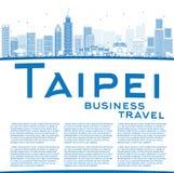 Descriva l'orizzonte di Taipei con i punti di riferimento blu e copi lo spazio illustrazione di stock