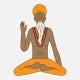 Descriva l'yoga che medita il sadhu, il monaco di hinduism dell'Asia di logo, carattere dell'uomo religioso dell'India illustrazione di stock