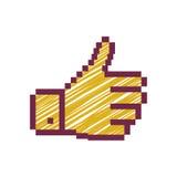 Descriva la mano pixelated con gli stripeds giusti e gialli Immagine Stock