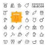Descriva la raccolta dell'icona - cucinare gli strumenti e gli utensili Fotografie Stock