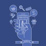 Descriva le icone e lo Smart Phone a disposizione con il concetto digitale di vendita Immagine Stock