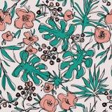 Descrive il modello senza cuciture dei fiori della giungla illustrazione botanica disegnata a mano royalty illustrazione gratis
