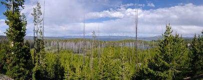 Lago Yellowstone di Panoramica Fotografie Stock Libere da Diritti