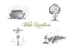 Descrizioni della bibbia - arca di Noahs, Adamo e Eva, insieme di concetto di vettore di Jesus Christ illustrazione di stock