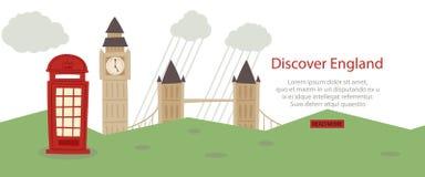 Descubra el ejemplo del vector del diseño web de la bandera de Inglaterra Vistas y símbolos turísticos de Gran Bretaña, recepción stock de ilustración