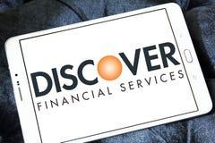 Descubra o logotipo dos serviços financeiros imagens de stock royalty free
