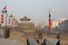 Descubrimiento de China: Pared de la ciudad antigua de Xian Imágenes de archivo libres de regalías
