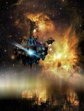 Descubrimiento de un planeta con agua stock de ilustración