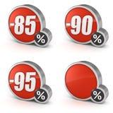 Descuente el 85% el 90% el 95% y esconda el icono de la venta 3d en el fondo blanco Fotos de archivo libres de regalías