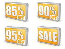 Descuente el icono de la venta 3d del 85% el 90% el 95% en el fondo blanco Fotografía de archivo
