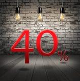 descuente el 40 por ciento apagado con oferta especial del texto su descuento adentro Fotografía de archivo libre de regalías