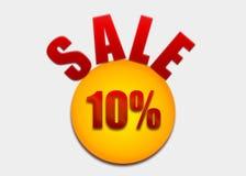 Descuente la cupón el 10 por ciento en un círculo amarillo Imagen de archivo