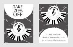 Descuente la tarjeta para la presentación de la tienda musical publicidad de diseño en el estilo de la música para la presentació Imagen de archivo libre de regalías