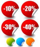 Descuente las etiquetas engomadas, etiquetas con menos el 10 a 40 por ciento Imágenes de archivo libres de regalías