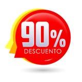 90% Descuento, ισπανικό κείμενο έκπτωσης 90%, διανυσματική απεικόνιση ετικεττών πώλησης φυσαλίδων, ετικέτα τιμών προσφοράς ελεύθερη απεικόνιση δικαιώματος