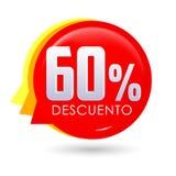60% Descuento, ισπανικό κείμενο έκπτωσης 60%, ετικέτα τιμών προσφοράς ετικεττών πώλησης φυσαλίδων ελεύθερη απεικόνιση δικαιώματος