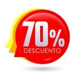 70% Descuento, ισπανικό κείμενο έκπτωσης 70%, ετικέττα πώλησης φυσαλίδων, ετικέτα τιμών προσφοράς διανυσματική απεικόνιση