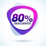 80% Descuento, ισπανικό κείμενο έκπτωσης 80%, σύγχρονη ετικέττα πώλησης Στοκ Εικόνες