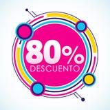 80% Descuento, ισπανικό κείμενο αυτοκόλλητων ετικεττών έκπτωσης 80%, ετικέττα πώλησης Στοκ Εικόνες