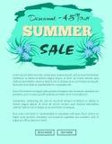 Descuento cartel del emblema de la promoción de venta de 45 veranos Ilustración del Vector
