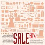 Descuento casero del producto el 50% para la venta del verano Imagen de archivo libre de regalías