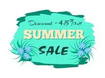 Descuento 45 de la etiqueta del anuncio de la venta del verano Ilustración del Vector