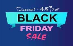 Descuento -45 de la etiqueta del promo de la venta de Black Friday Foto de archivo libre de regalías