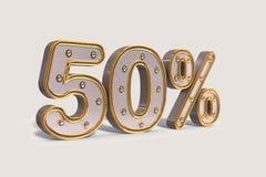 Descuento de las bombillas el 50%, el por ciento de oro de la venta de la promoción hecho de 3d realista con la iluminación aisla ilustración del vector