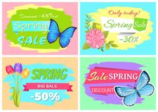 Descuento 45 de las etiquetas engomadas de la venta de la primavera del hoy fijadas Libre Illustration