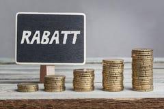 Descuento de Rabatt en lengua alemana Imagen de archivo libre de regalías