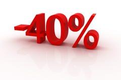 descuento del 40 por ciento Fotografía de archivo libre de regalías