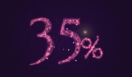 descuento del 35% - descuente la muestra de la venta - protagonice los números del icono Foto de archivo