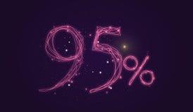 descuento del 95% - descuente la muestra de la venta - protagonice los números del icono Fotos de archivo