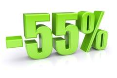 descuento del 55% en un blanco Fotos de archivo libres de regalías