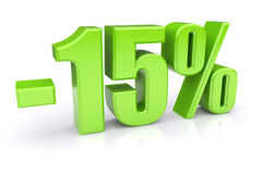 descuento del 15% en un blanco Fotografía de archivo libre de regalías