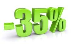 descuento del 35% en un blanco Fotografía de archivo
