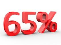 descuento del 65 por ciento Números rojos 3d en fondo blanco aislado Fotos de archivo