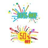 descuento del 35% y descuento del 50% Fotos de archivo libres de regalías